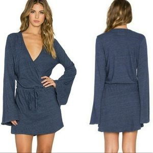 Chaser Charcoal Gray Bell Sleeve Wrap Mini Dress